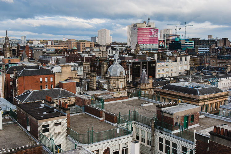 Uninterrupted view of Glasgow from the viewing  balcony of the Lighthouse