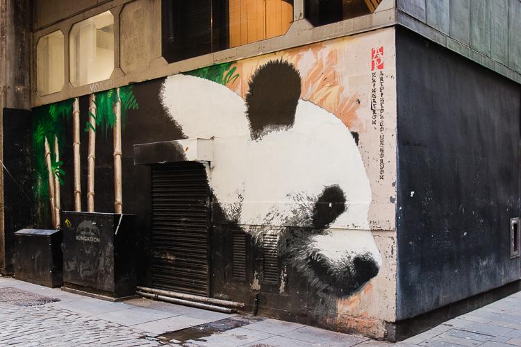 Giant Panda mural by Klingatron next to the Lighthouse