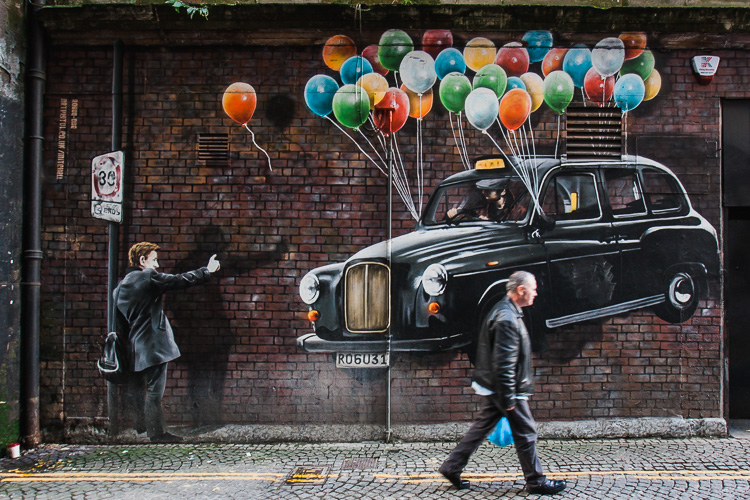 Taxi Balloons street art by Bobby McNamara