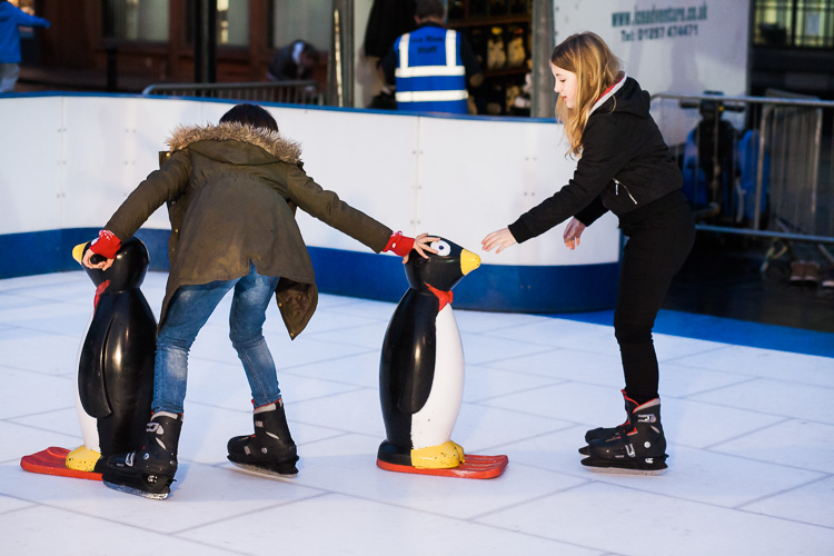 Trying to keep on the their feet with the help of plastic penguins