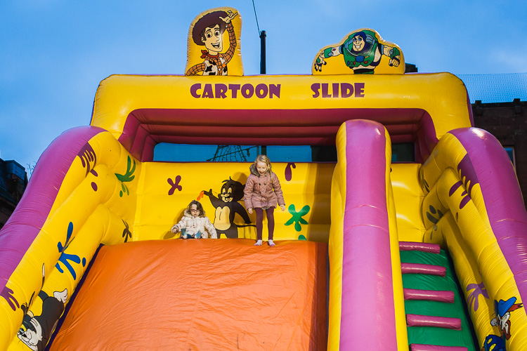 Cartoon slide enjoyed by the youngest visitors of Dumfries Christmas extravaganza