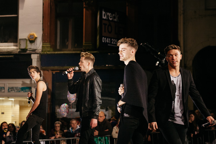 Scottish boy band rewind performing on the Plainstanes stage in Dumfries