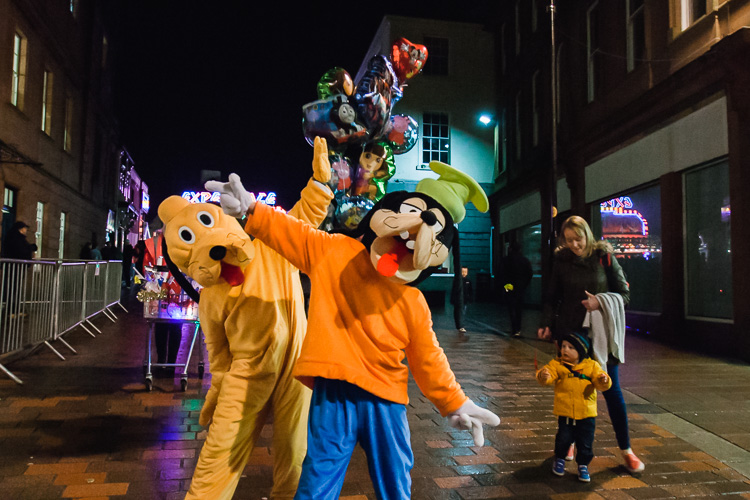 Disney characters on the streets