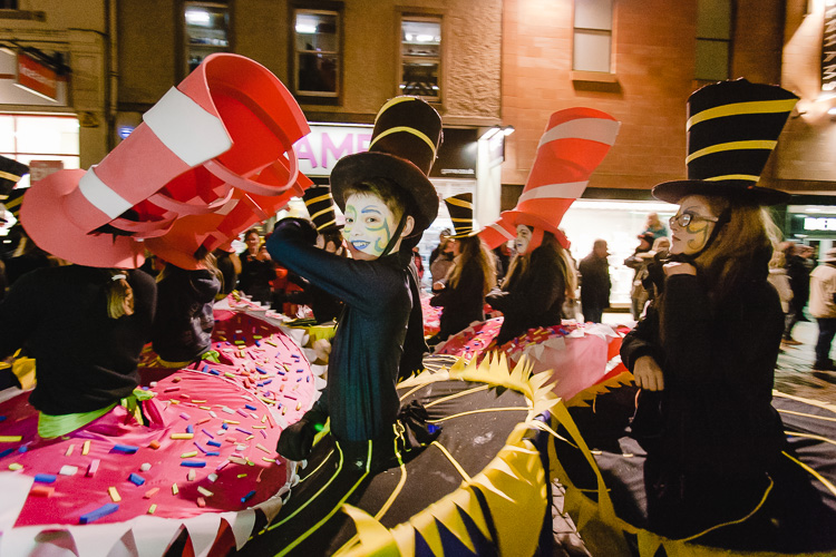 Young costumed dancers contribute to the parade extravaganza