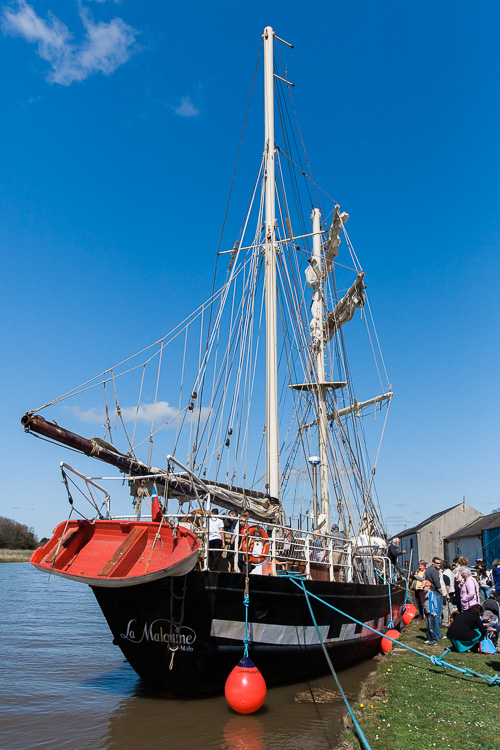 Tall ship La Malouine docked at Kingholm Quay harbour