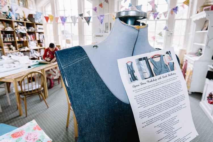 A sample for the apron dress making workshop