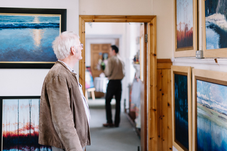 Looking at exhibited artworks