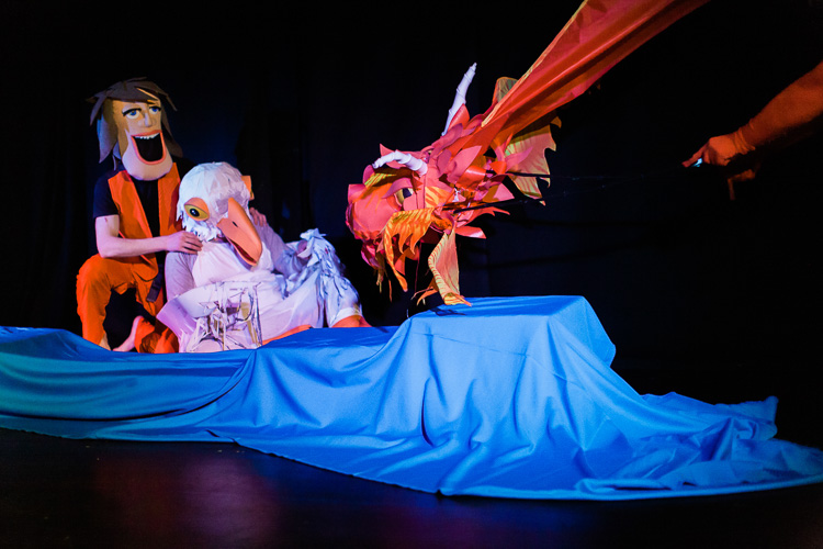 Little boy Jack and his friend Gull meet the dragon in the puppet play Waterloo Sunset