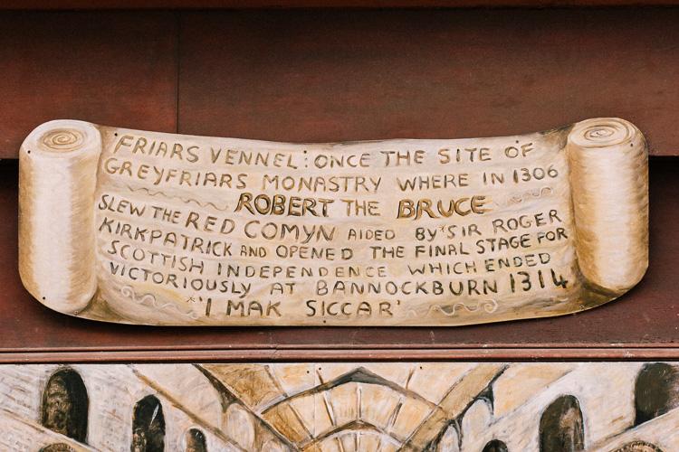 The board above Jo McSkimming's I Mak Siccar mural on Friars Vennel