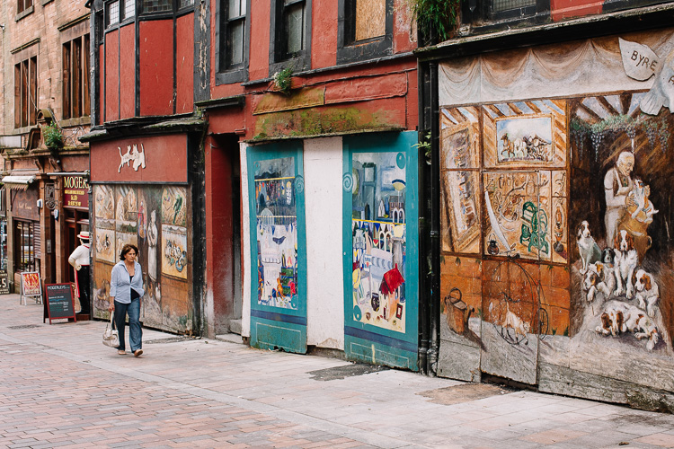 Tromp l'oeil of Friars Vennel - a row of painted shops (now demolished)