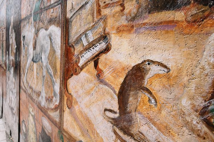 Antique shop mural at Friars Vennel Dumfries (fragment)