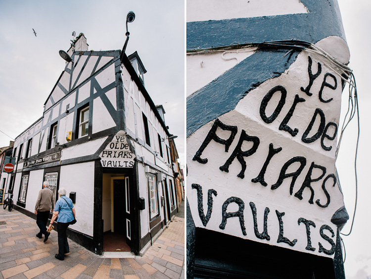 Faux-medieval Ye Olde Friars Vaults pub at the lower Friars Vennel
