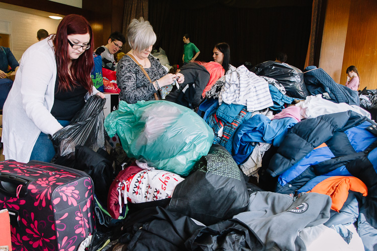 Tireless volunteers spent hours sorting and packing the aid