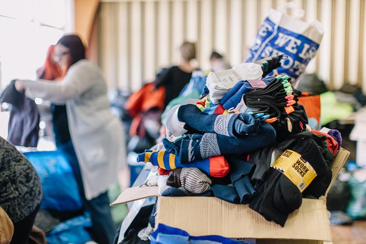 An overflowing mountain of socks
