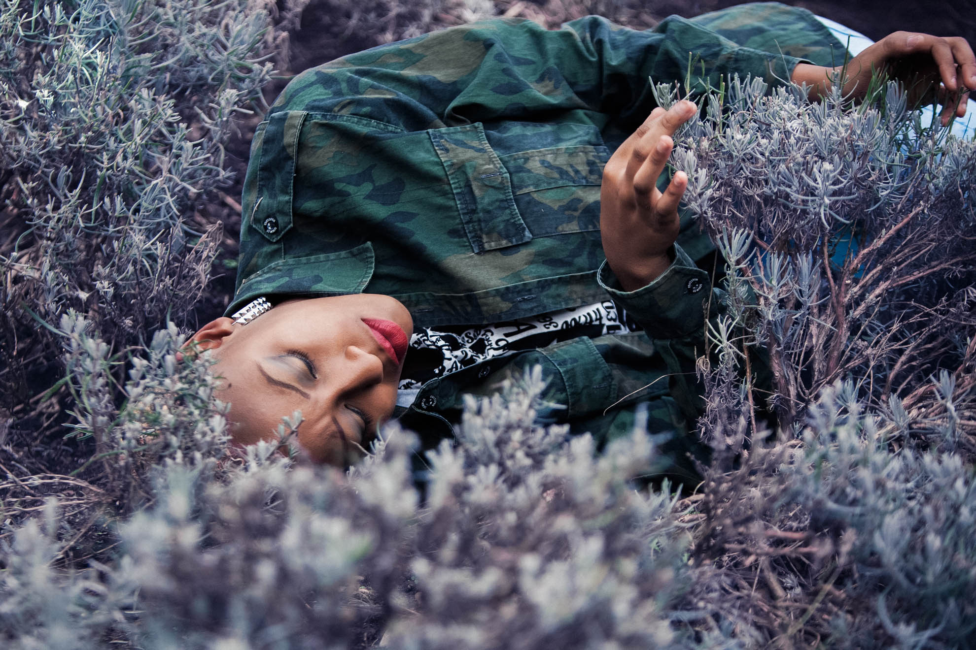 Girl lying in the lavendar field