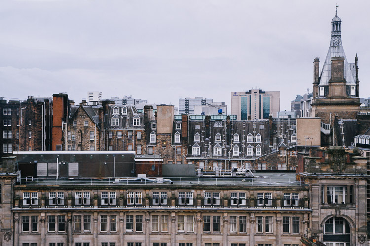 The jagged profile of Glasgow roofs