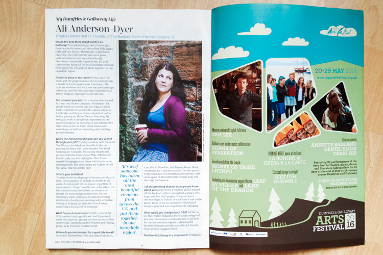 My photo of Ali Anderson-Dyer, theatre director, published in Dumfries and Galloway Life Magazine