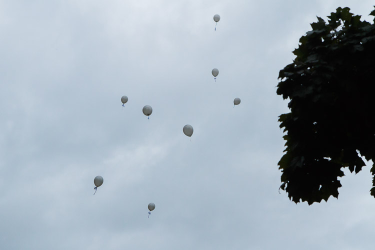 Balloons with peoples' wishes releases into the sky