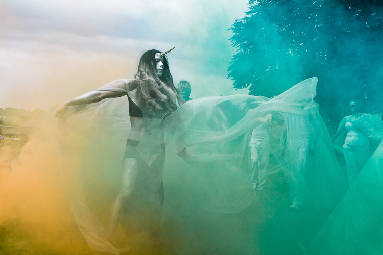Coloured smoke bombs used to create an atmosphere