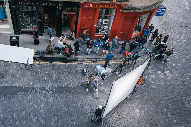 The film set on location - West Bow of Victoria Street, Edinburgh Old Town