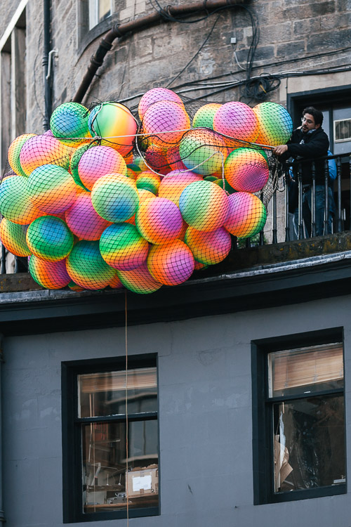 A net with balloons lowered from Victoria Terrace