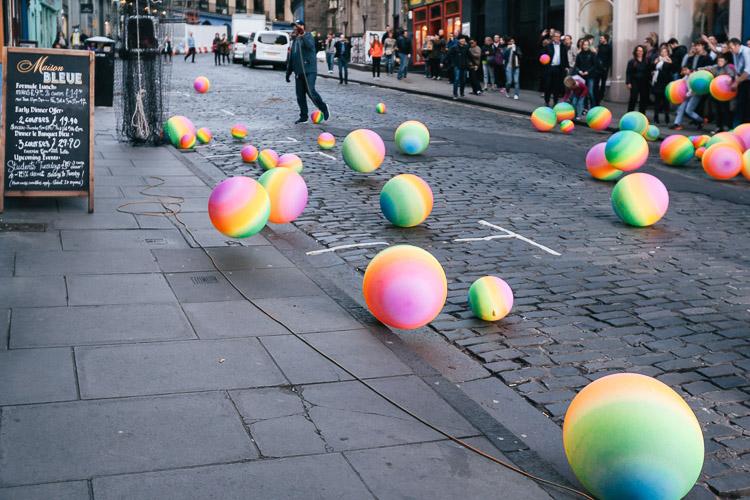 Balloons bouncing along the street