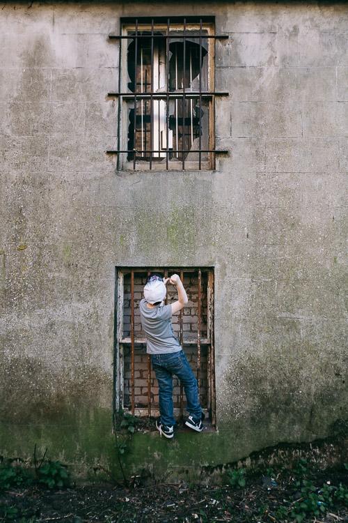 Backstreet urban portraits - outside a derelict house