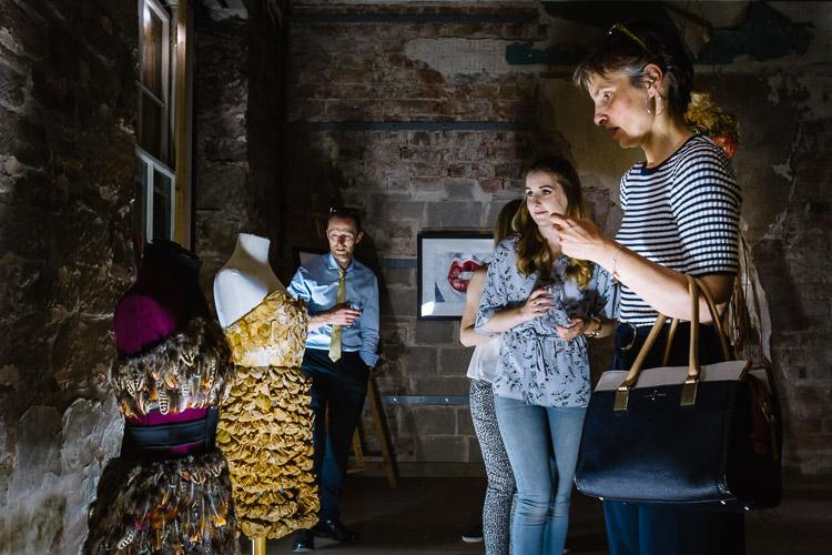 Guinea fowl and tea bag dresses by Nicole Halliday