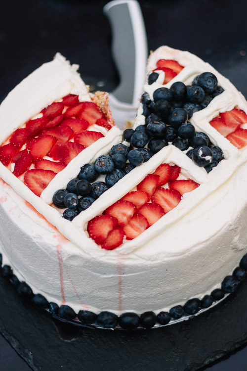 Good Neighbours contribution from the Stove Cafe - a Norwegian flag cake