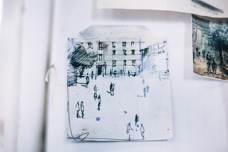Urban scene sketch by Fraser irvine