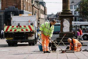 Road repairs on Queens Square, Dumfries