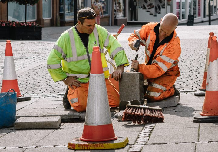 Road repairs - Dumfries street photography