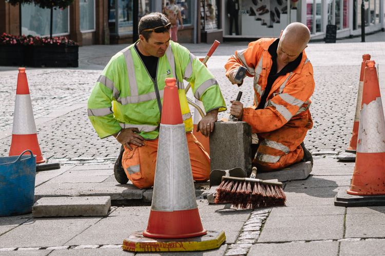 Queensbury Square pavement maintenance in Dumfries