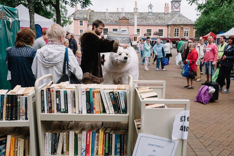 Bjorn The Polar Bear walks amidst the Carlisle Fair