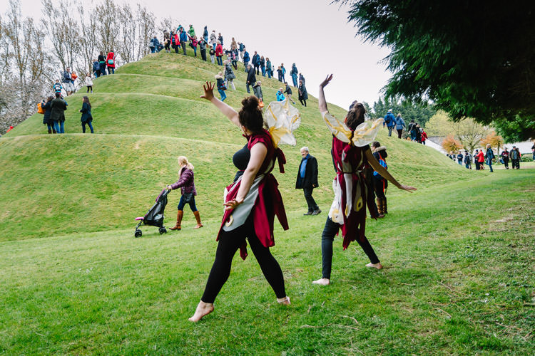 Faeries waving Portrack Gardens visitors on the Snail Mound