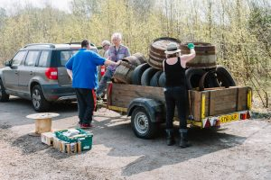 Donated old planters and tyres delivery at Apache Land