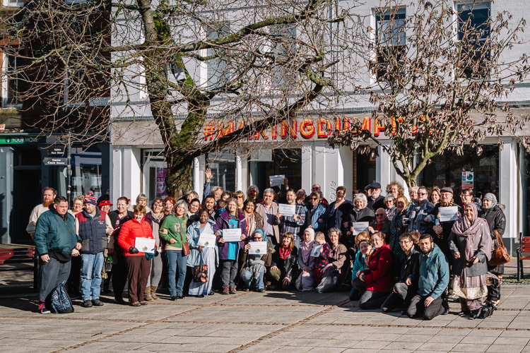 1pm walkout and photoshoot outside The Stove during #1daywithoutus action in Dumfries