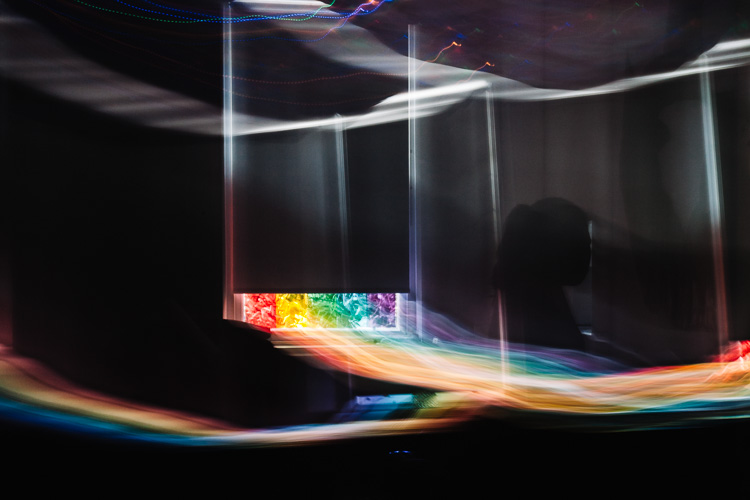 The ICM swing stretches the rainbow pattern painted on the Light Room window