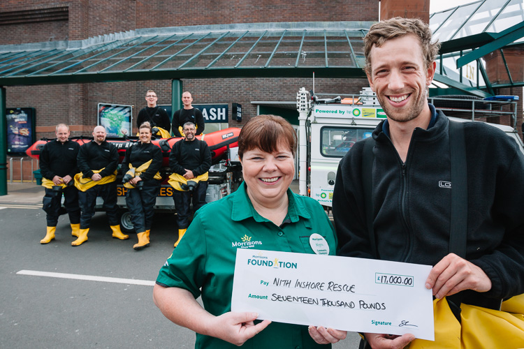 Morrisons Foundation (Dumfries) presents a cheque for £17,00 to Nith Inshore Rescue
