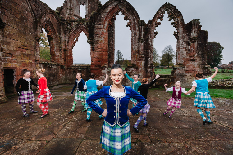 Scottish dancers from Karen Little Dance Academy at Lincluden Collegiate Church