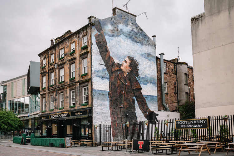 Two Billy Connolly murals – on Glasgow Mural Trail