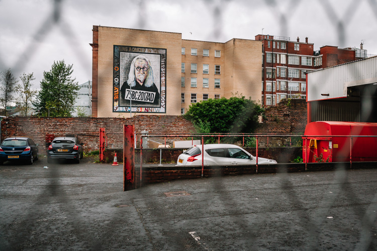 Billy Connolly mural at Osborne Street, Glasgow, in situ