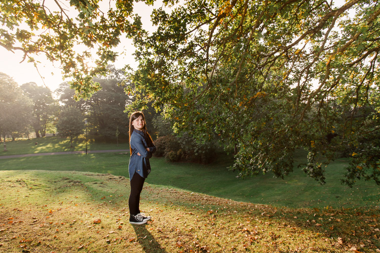 Autumnal portrait with Kayleigh at Castledykes Park where Dumfries Castle defences used to be