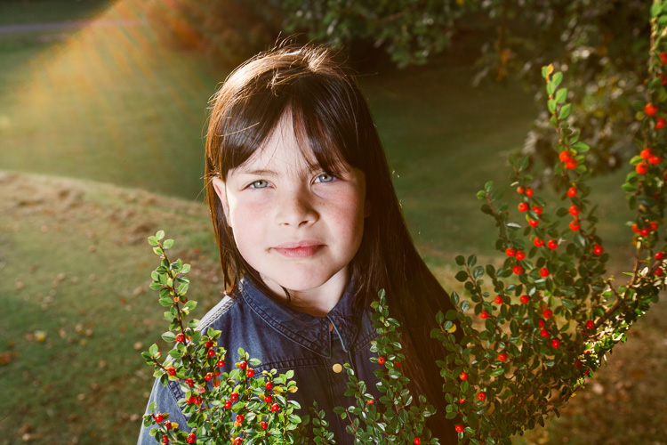 Off camera flash with softbox used to offset the strong low sun backlight
