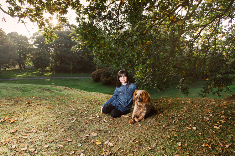 Autumnal portraits of Kayleigh with her cocker spaniel Rio in Castledykes Park