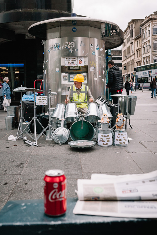 Techno Tin Bin Man playing - St Enoch Glasgow