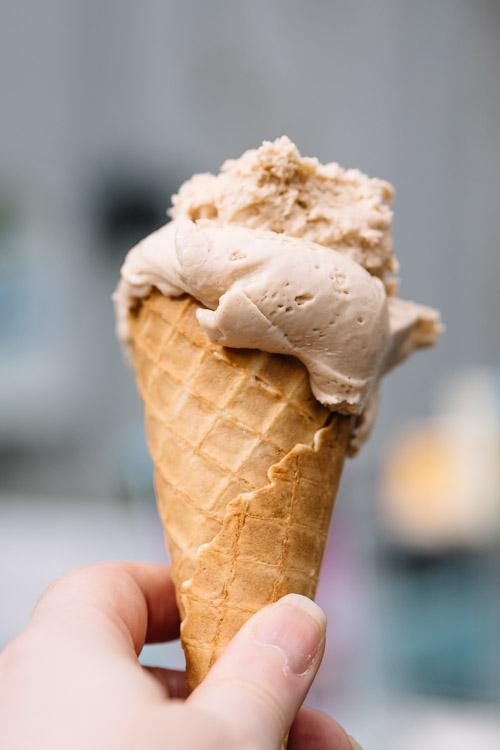 A cone with Glen Urr cream egg flavoured ice cream