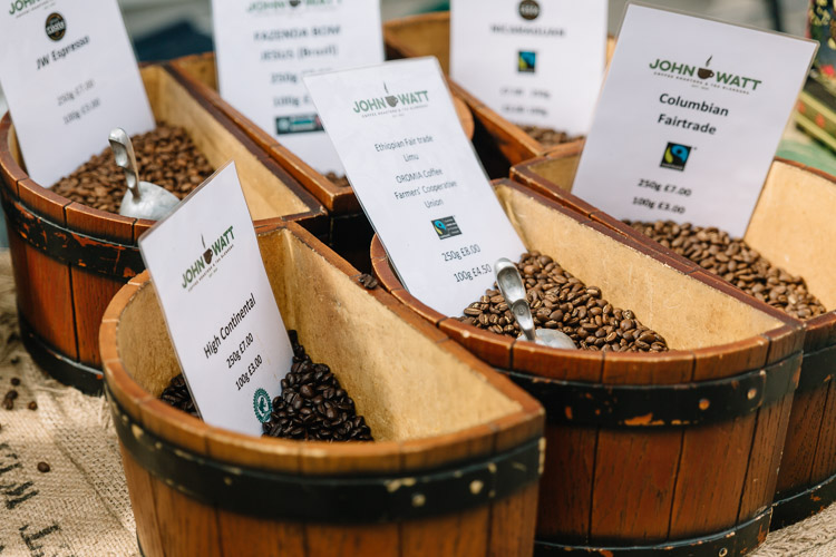 A variety of coffee beans offered by Tom Watt and Son