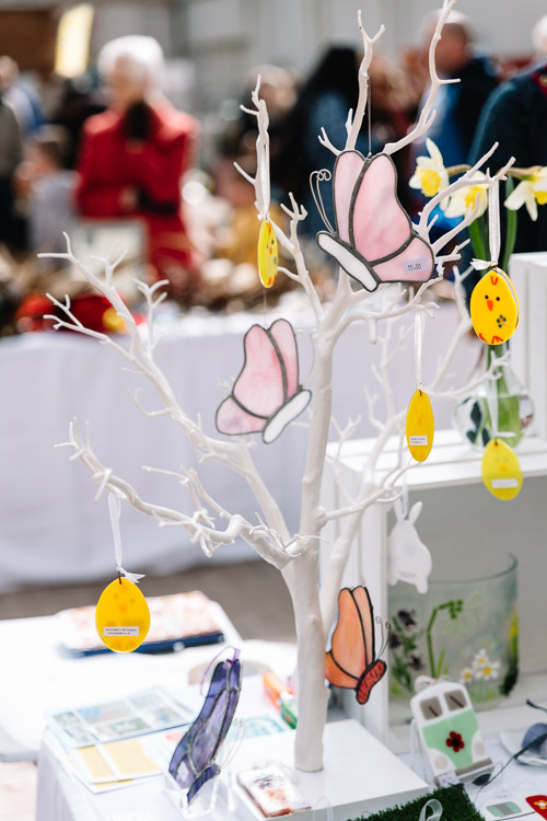 Butterflies and Easter eggs ornaments crafted by KGR Glass