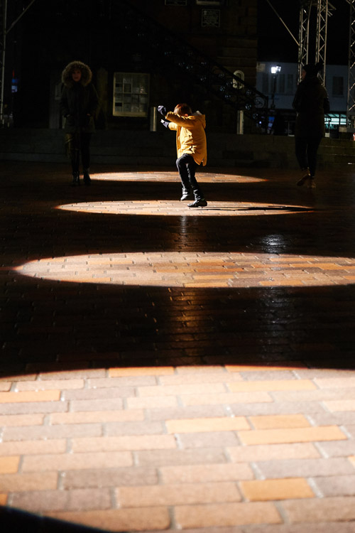 D-LUX illuminations playfully projected onto the High Street pavement